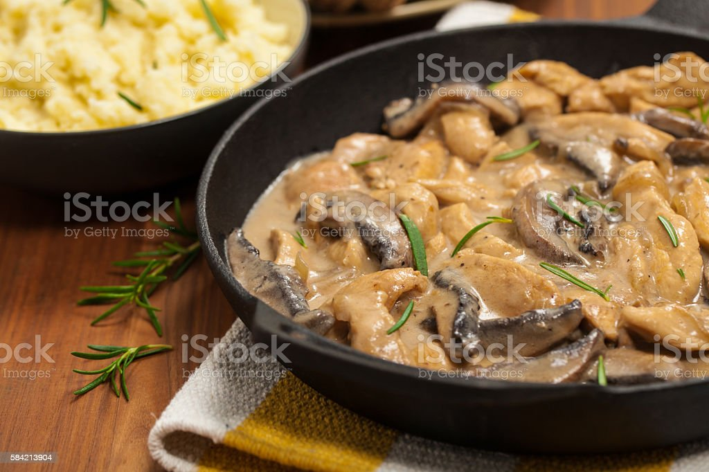 Chicken with Mushrooms stock photo