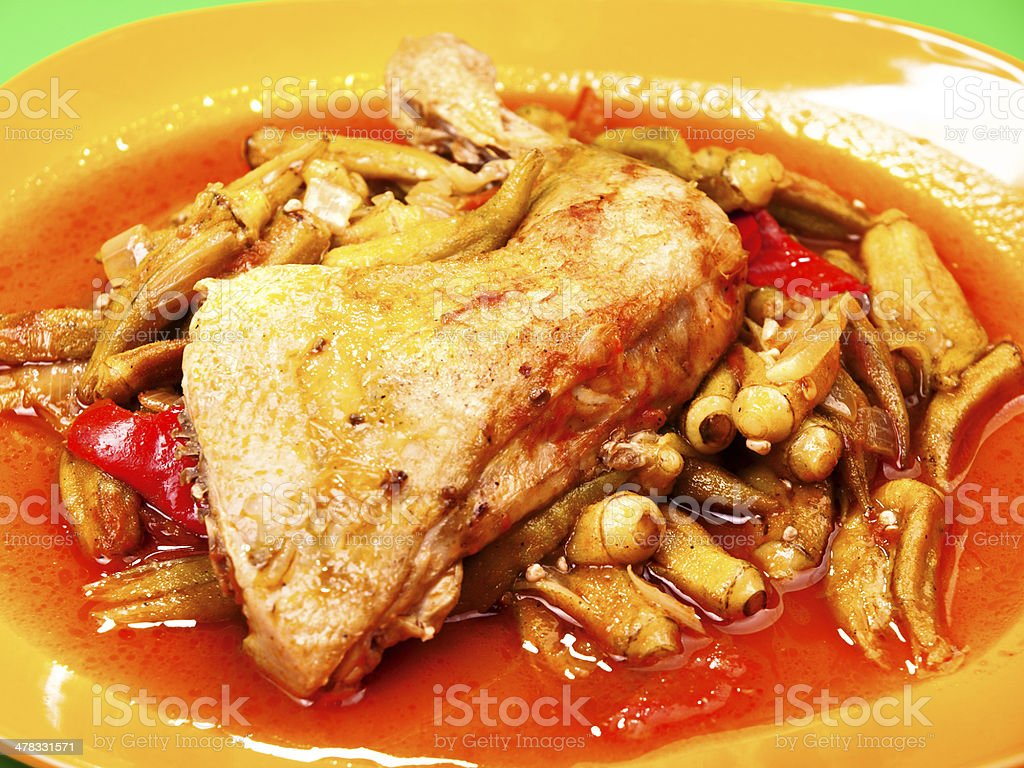 Chicken with okra royalty-free stock photo