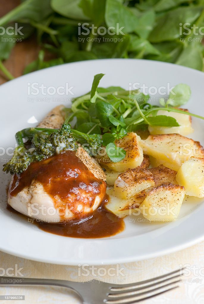 Chicken with potatoes royalty-free stock photo