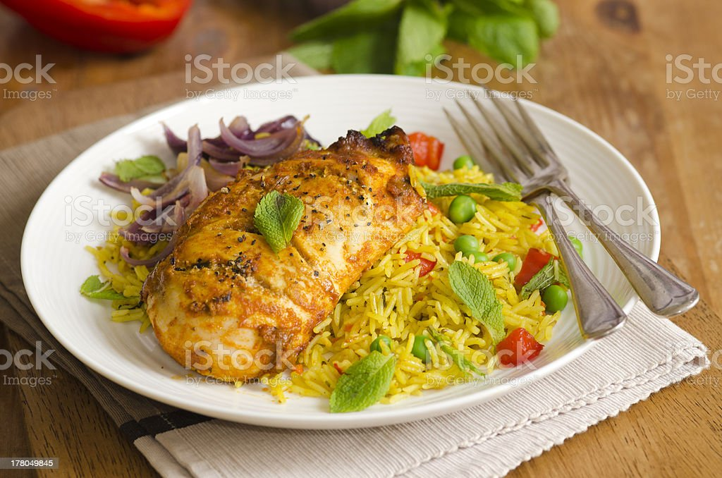 Chicken with rice royalty-free stock photo
