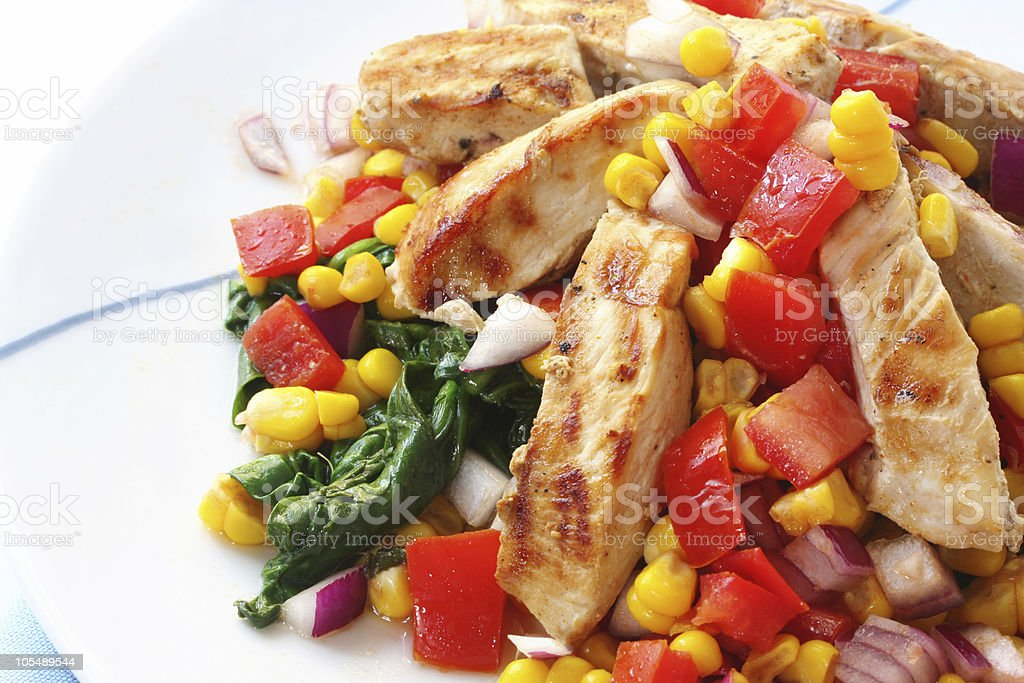 Chicken with Salsa and Spinach royalty-free stock photo