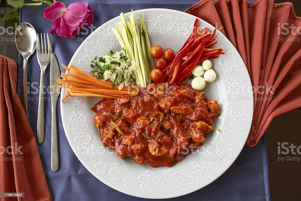 Chicken with sauce royalty-free stock photo