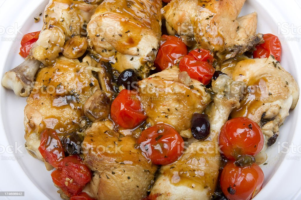 Chicken with Tomatoes, and Olives royalty-free stock photo