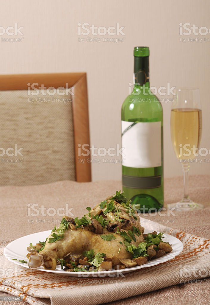 Chicken with white wine royalty-free stock photo