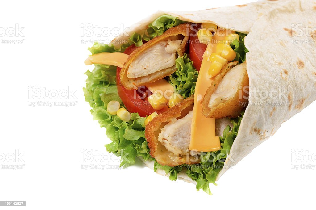 Chicken wrap isolated stock photo