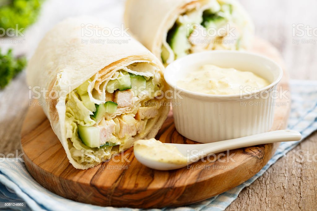 Chicken wraps stock photo