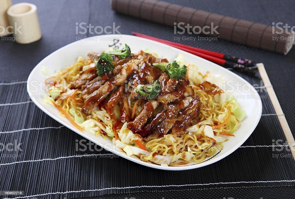 Chicken Yakisoba stock photo