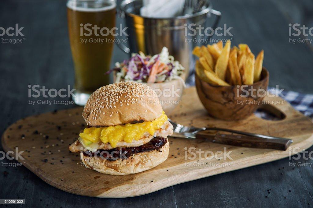 Chickenburger stock photo