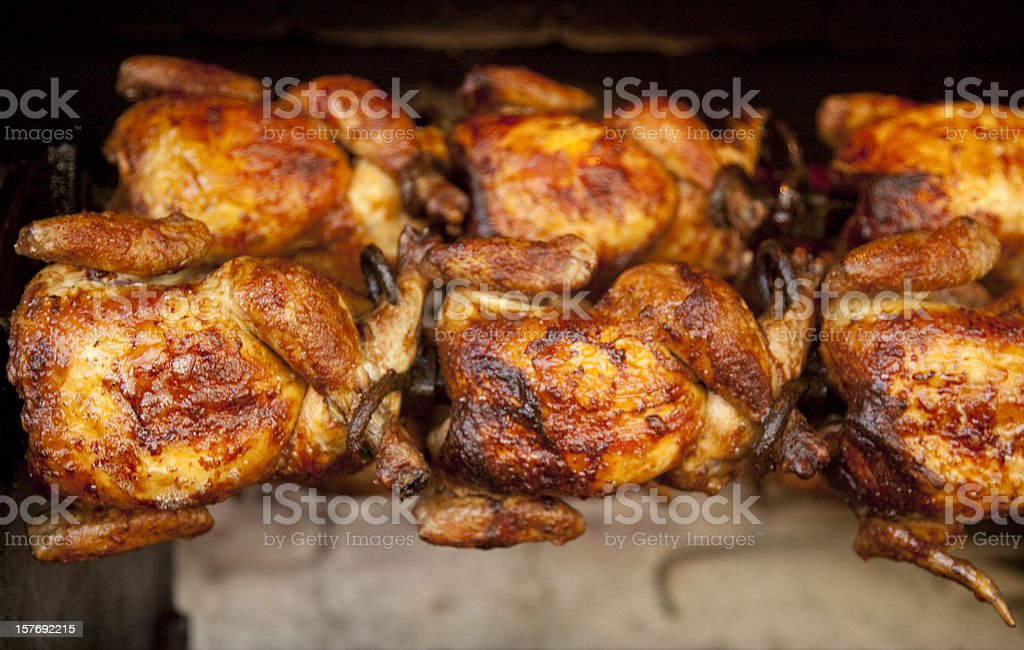 Chickens Roasting on Rotisserie, Food, Grilling, Cooking, Poultry stock photo