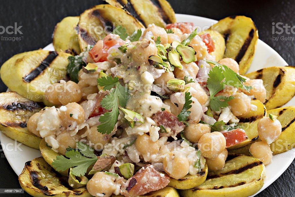 Chickpea And Pistachio Salad stock photo