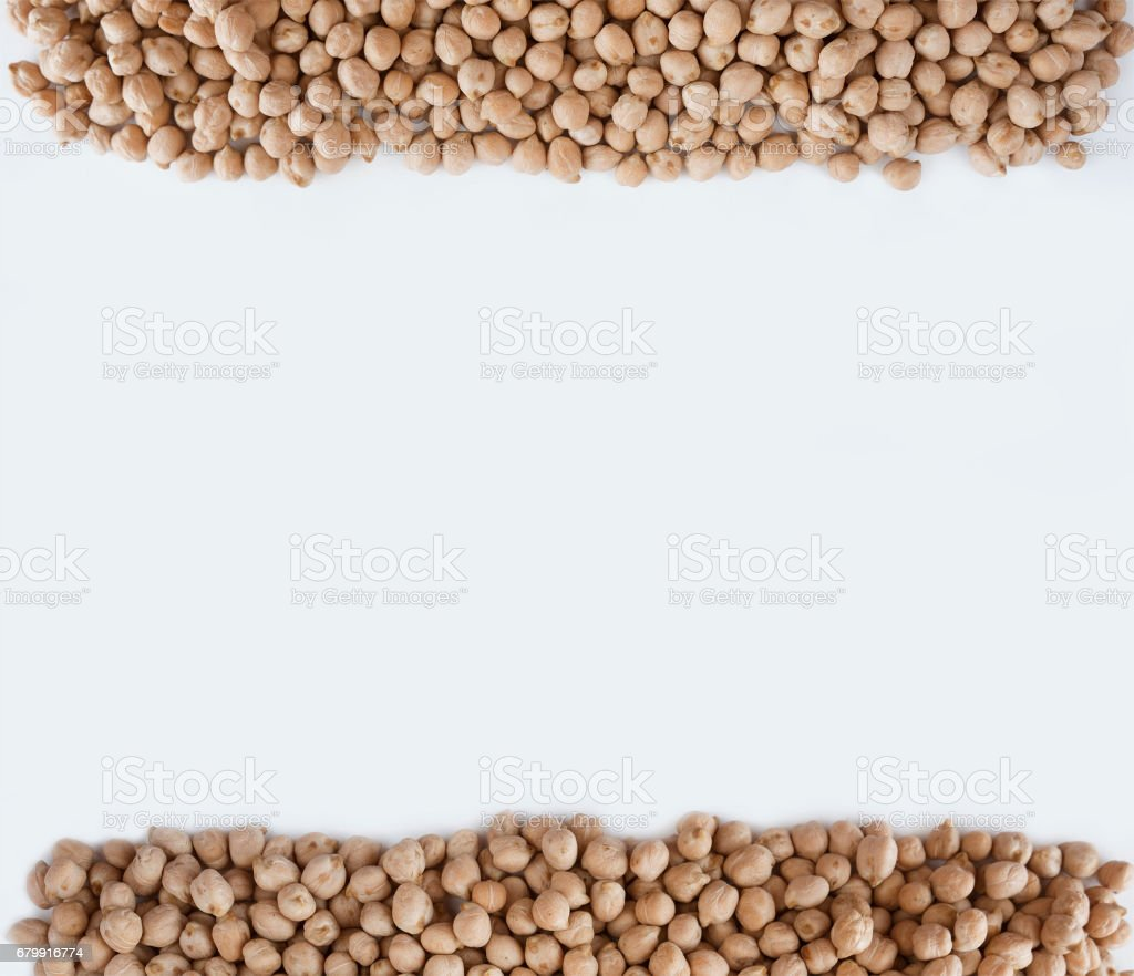 chickpea at border of image with copy space for text. stock photo