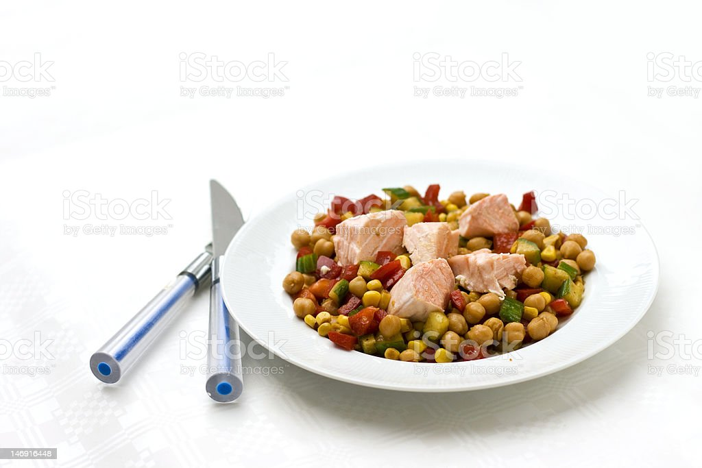 chickpea salad with steamed salmon royalty-free stock photo