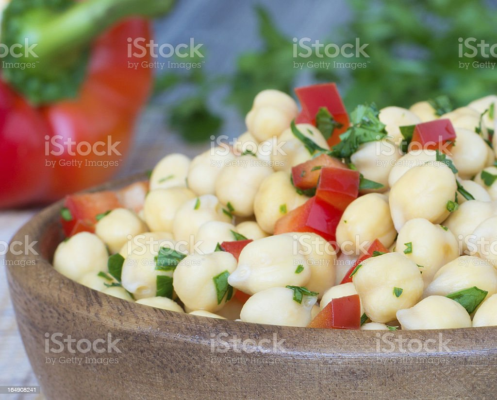 Chickpea with bell pepper and parsley royalty-free stock photo