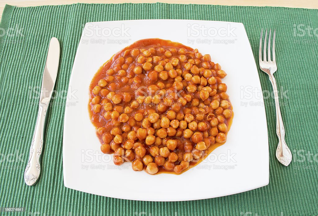 chickpea with tomato royalty-free stock photo