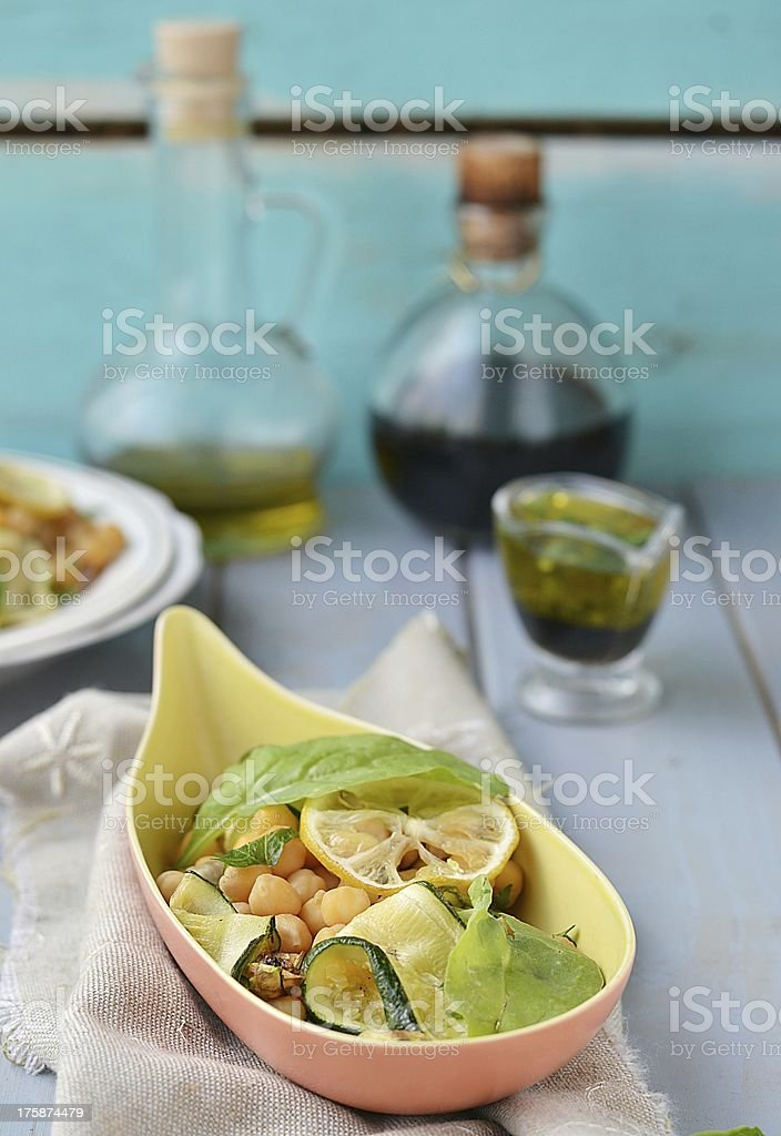 chickpeas and zuccini salad royalty-free stock photo