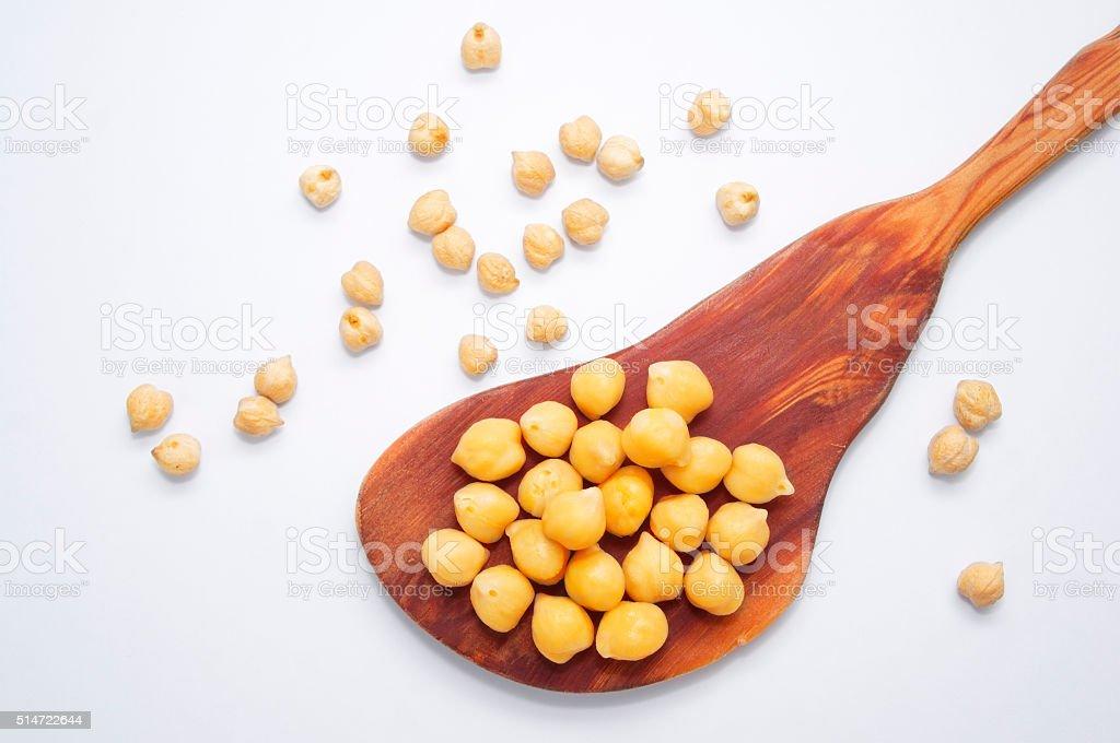 chickpeas on white background stock photo