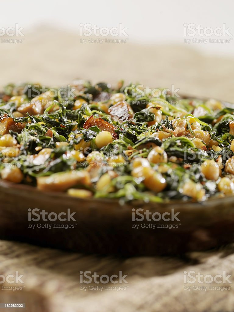 ChickPeas with Spinich and Bacon royalty-free stock photo