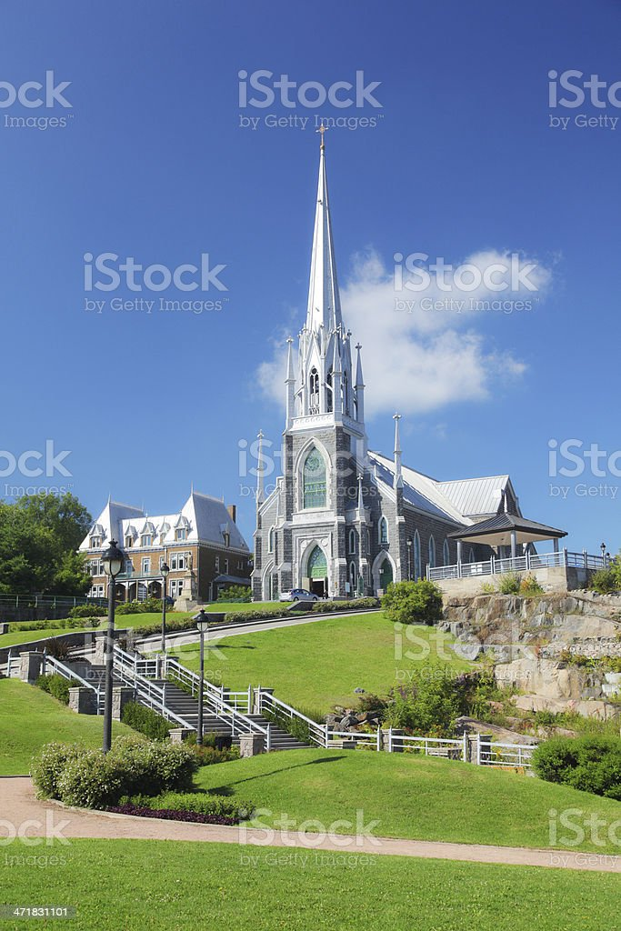 Chicoutimi Church and Park royalty-free stock photo