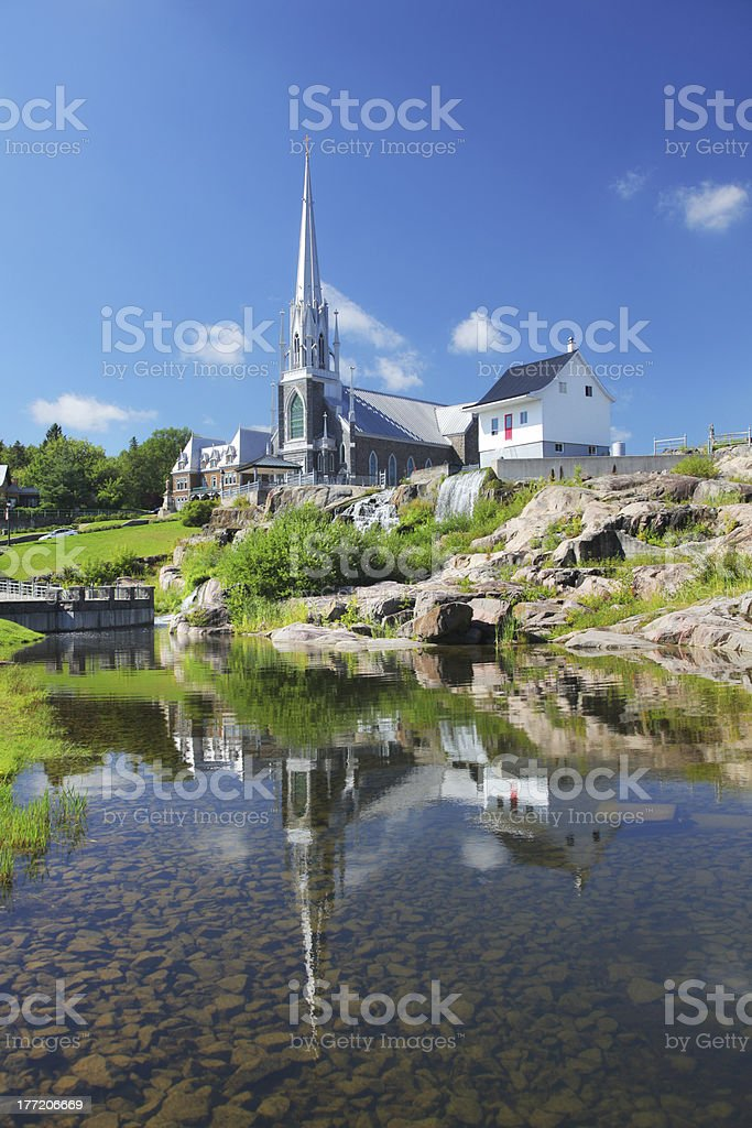 Chicoutimi City Historical House and Church stock photo