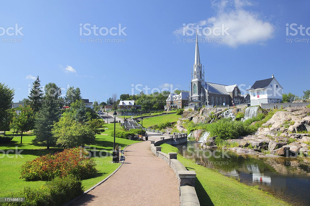 Chicoutimi City Historical House, Park and Church stock photo
