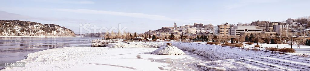 Chicoutimi with Saguenay River Winter Panorama stock photo