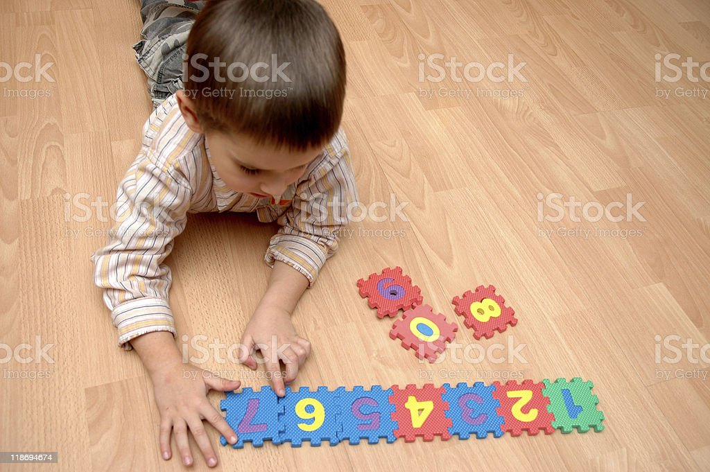 chid learning the numbers royalty-free stock photo