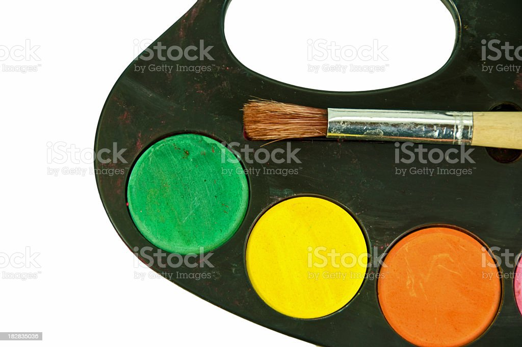 Chid's Paint Pallet- Three Colors stock photo