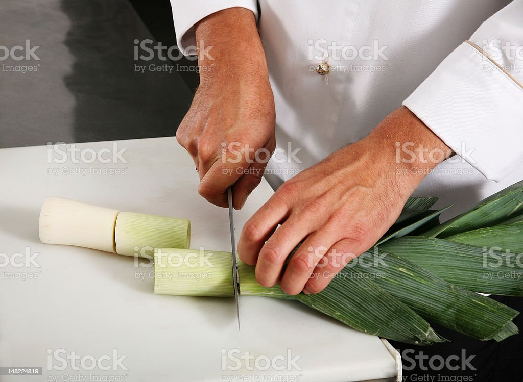 Chief carve onion royalty-free stock photo