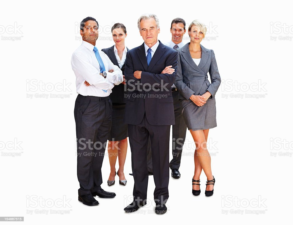 Chief executive with his team royalty-free stock photo