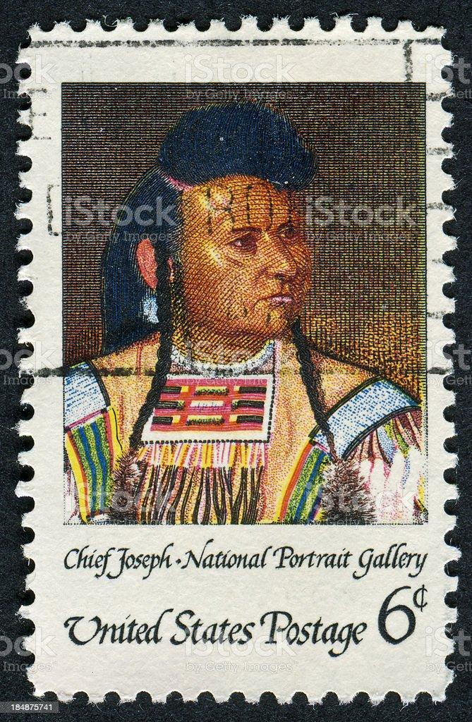Chief Joseph Stamp stock photo