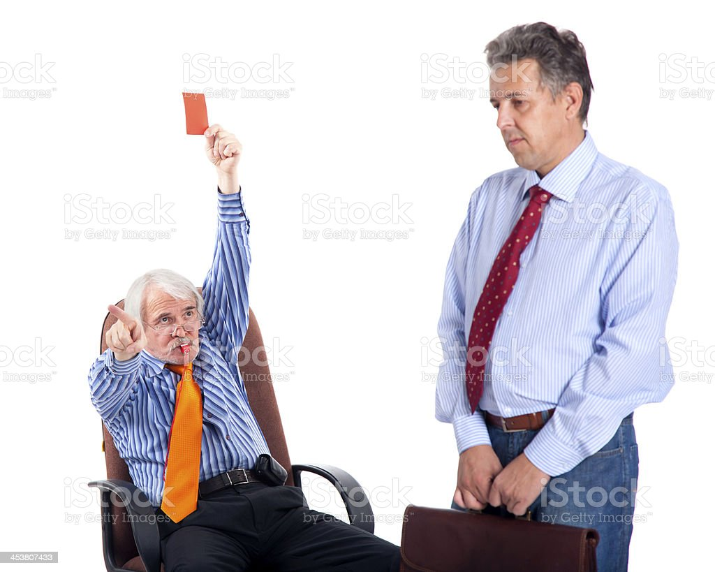 chief kicks out the dismissed worker royalty-free stock photo