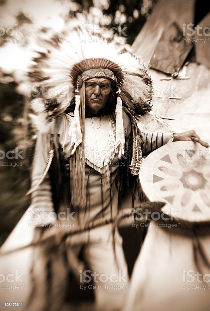 Chief Long Horn (Sepia) stock photo