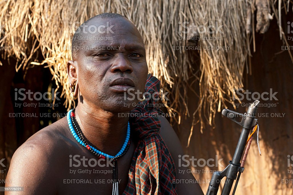 Chief of the village, Surma, Southern Ethiopia stock photo