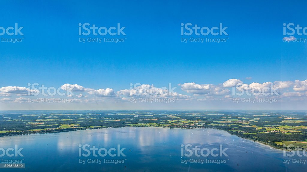 Chiemsee, Bavaria - aerial view stock photo