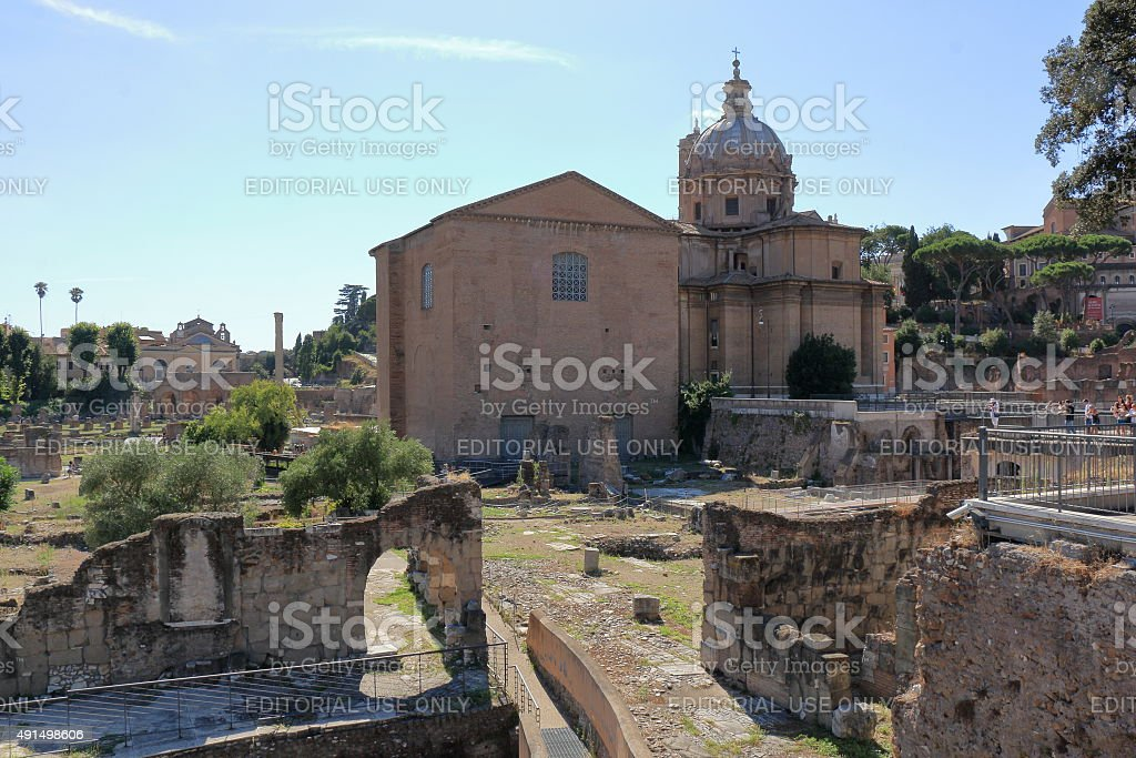 Chiesa dei Santi Luca e Martina from Foro di Nerva stock photo
