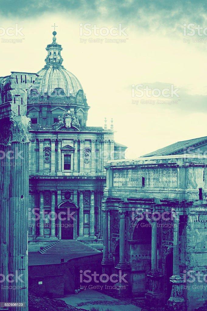 Chiesa dei ss. Luca e Martina, Arco di Settimio Severo stock photo