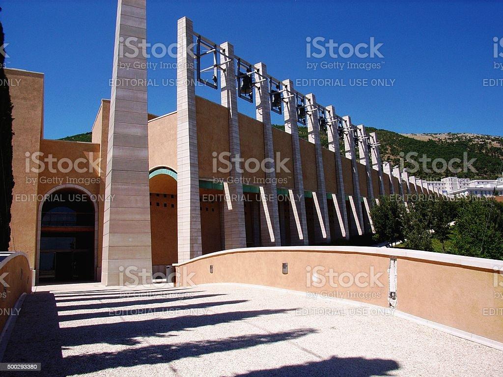 Chiesa di Padre Pio - fila di campane stock photo