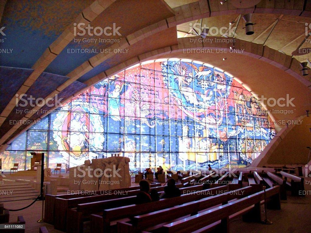 Chiesa di Padre Pio - vetrata stock photo