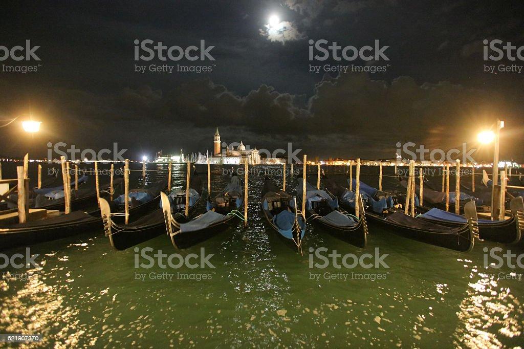 Chiesa di San Giorgio Maggiore and gondolas in Venice, Italy stock photo