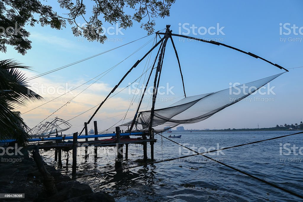 Chiese Fishing Nets at Fort Cochin stock photo