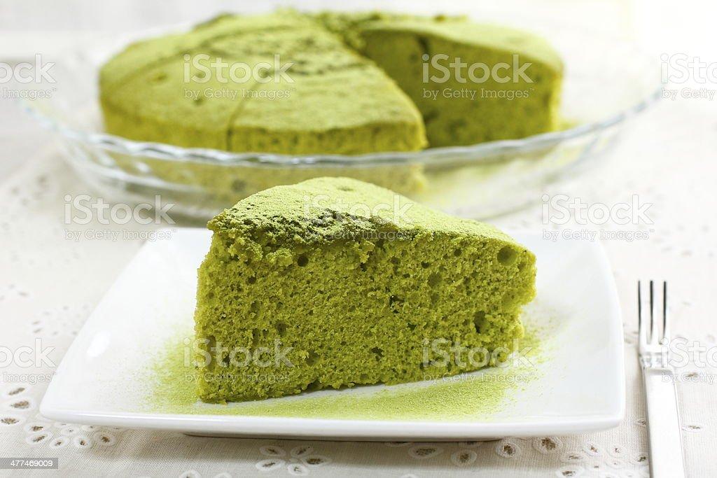 Chiffon cake of green tea stock photo