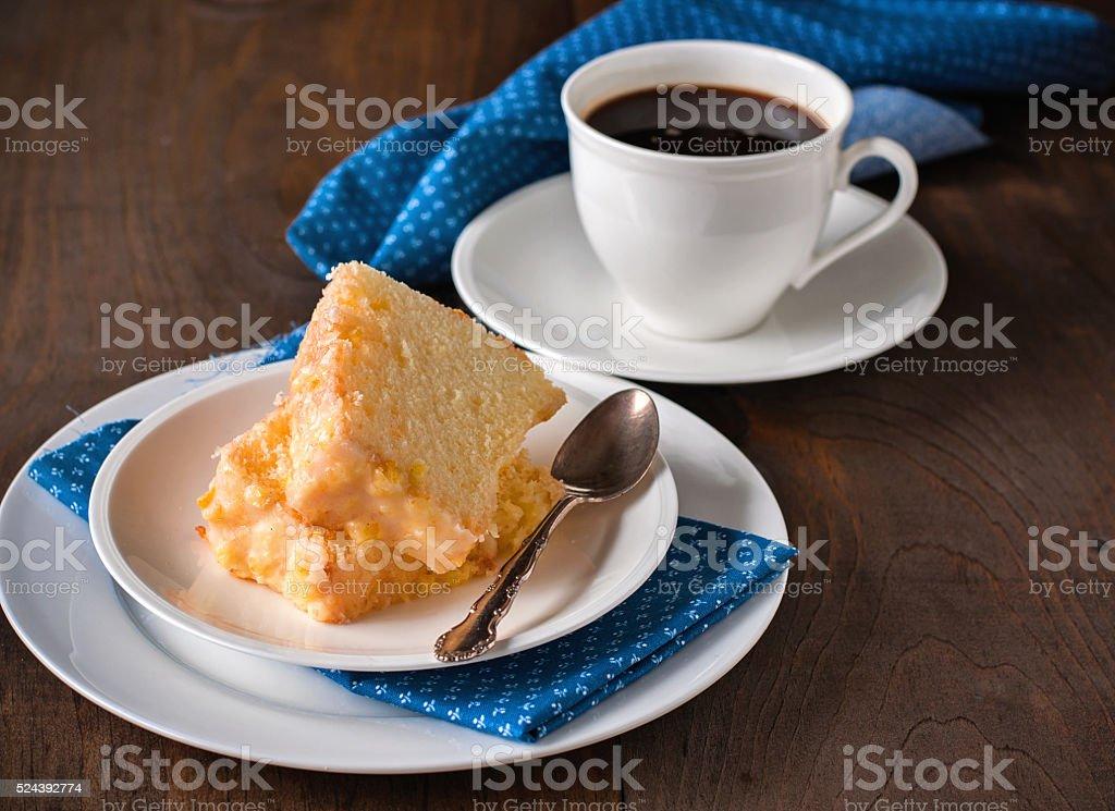 Chiffon cake with orange zest icing. stock photo