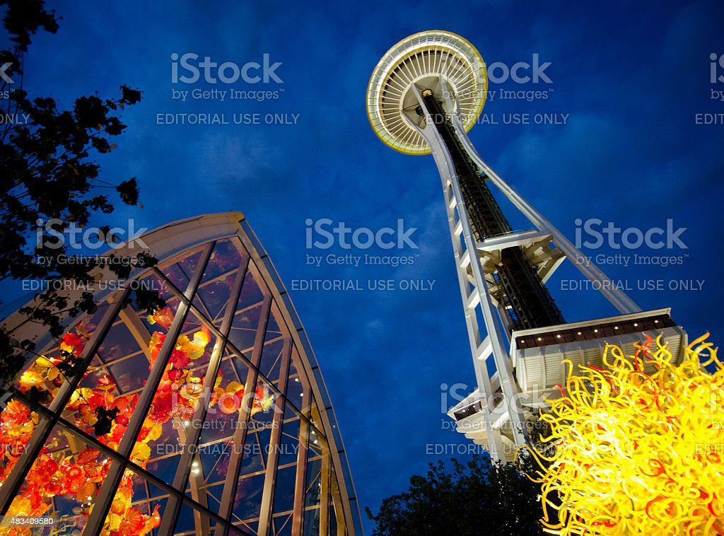 Chihuly Sculptures and Seattle's Space Needle stock photo