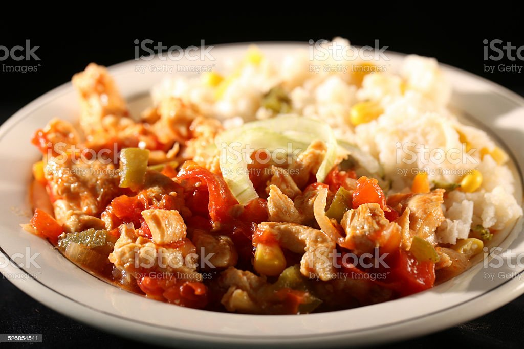 Chiken and rice stock photo