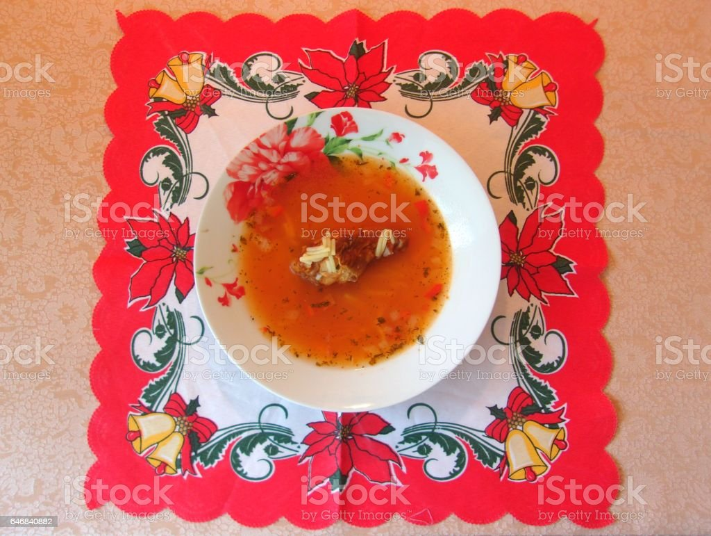 786- Chiken soup with noodles stock photo