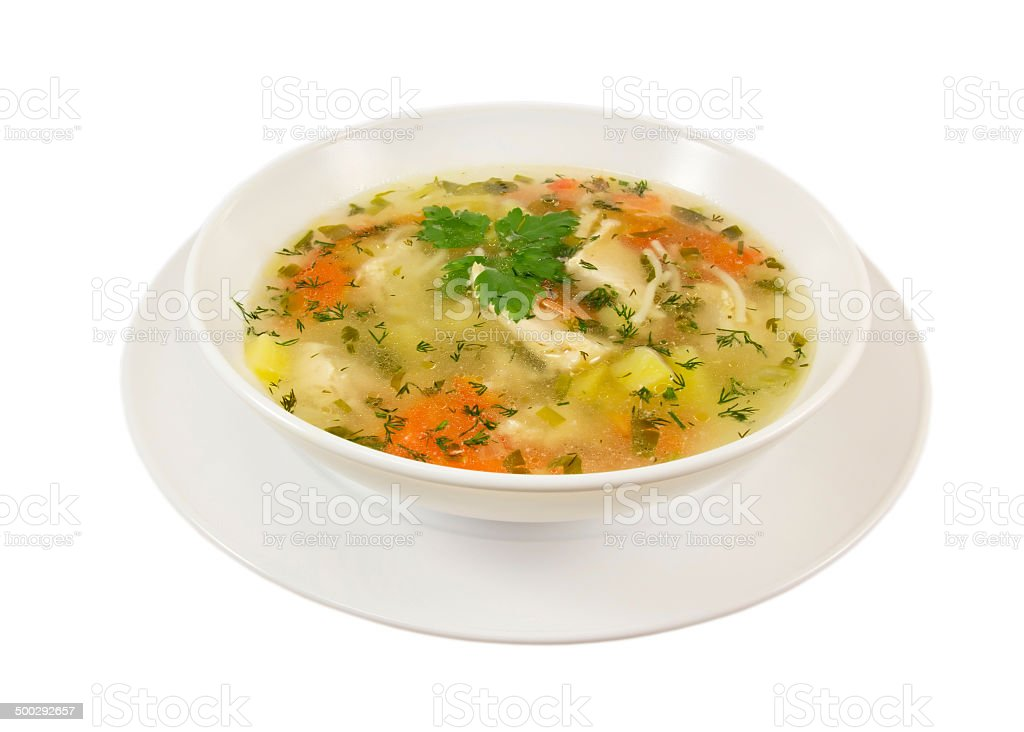 Chiken soup.Isolated. stock photo