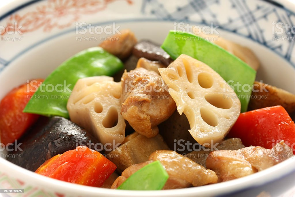 chikuzenni, simmered chicken and vegetables, japanese cuisine stock photo