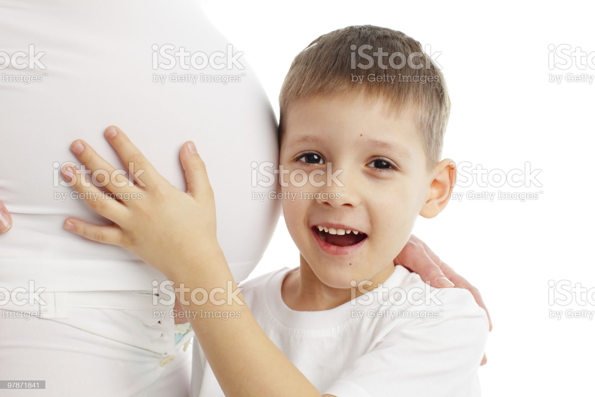 Child a listening stomach of pregnant mother royalty-free stock photo