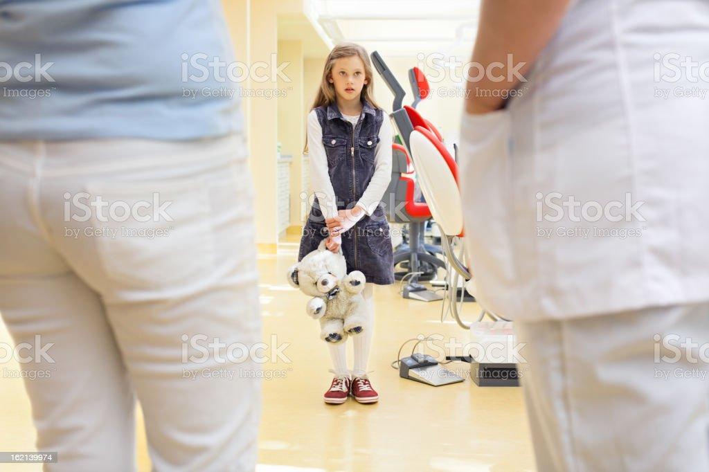 Child afraid of the dentist royalty-free stock photo