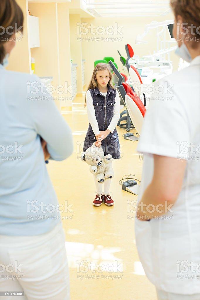 Child afraid of the dentist stock photo